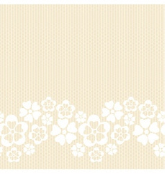 Horizontal white lacy flower border vector