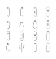 icons flash drive from thin line vector image vector image
