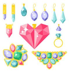 jewelry items gold elegance gemstones vector image