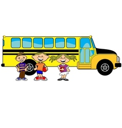 kids bus vector image vector image