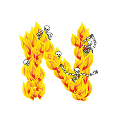 Letter n hellish flames and sinners font fiery vector