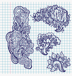 Pen floral ornaments in school notebook vector