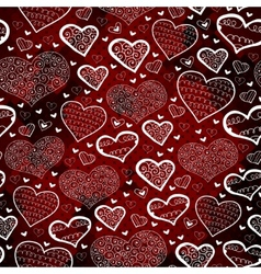 Red pattern with hearts Hand drawing sketch vector image