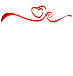 Red ribbons heart vector image vector image