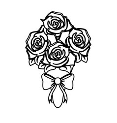 Roses bouquet wedding related icon image vector