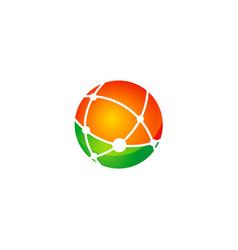 Round global technology logo vector