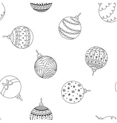 seamless pattern of hand drawn christmas ball toy vector image