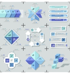 Set Of 9 Flat Minimal Infographics vector image vector image