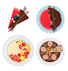 Set of birthday cakes with fresh organic fruits vector