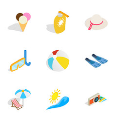 summer holidays icons isometric 3d style vector image vector image