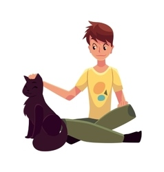 Teenage boy sitting on floor and stroking big vector
