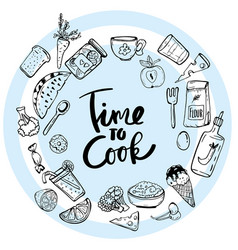 time to cook lettering hand drawn vector image