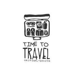 time to travel logo with traveler suitcase and vector image