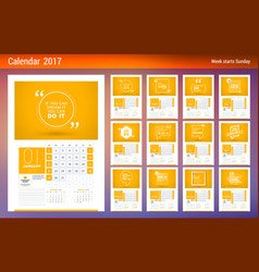 Wall calendar planner template for 2017 year week vector