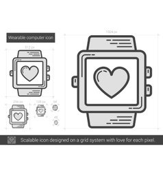 Wearable computer line icon vector