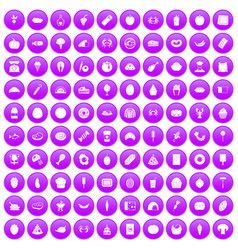 100 favorite food icons set purple vector image vector image