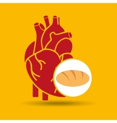 Food healthy heart bread concept design icon vector