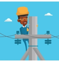 Electrician working on electric power pole vector