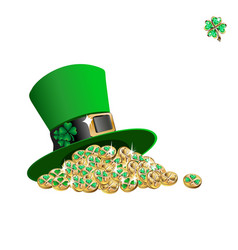 Leprechaun hat with coins vector
