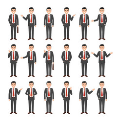 Collection of a young cartoon style businessman vector