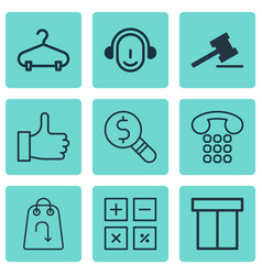 Set of 9 ecommerce icons includes peg gavel vector