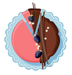 Birthday cake with chocolate and strawberry cream vector