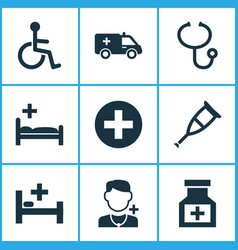 Medicine icons set collection of disabled plus vector