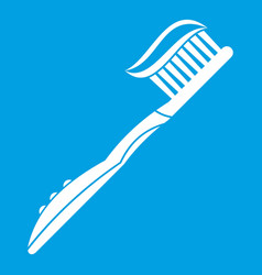 toothbrush with toothpaste icon white vector image