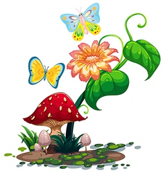 A big flower near the mushroom with two vector image