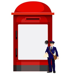 A mailman beside the big mailbox vector