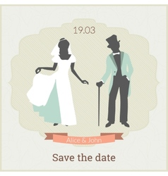 Save the date card template with bride and groom vector