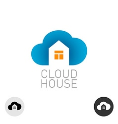 Cloud house logo real estate building theme use vector