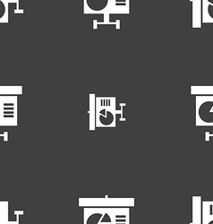 Graph icon sign seamless pattern on a gray vector