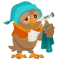 Patient owl holding thermometer and pills vector