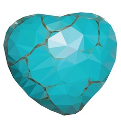 Geometric turquoise heart vector