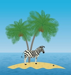 Lonely zebra on the island with a palm tree vector