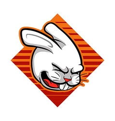 Laugh rabbit badge vector