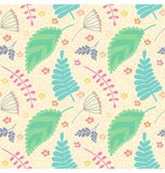 A seamless pattern with leaves and flowers vector image vector image