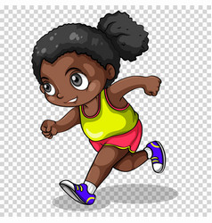 African american girl running vector