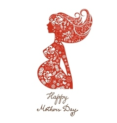 Beautiful mom to be floral silhouette vector image vector image