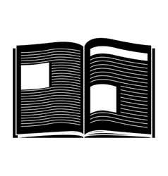 Black silhouette open book with text vector