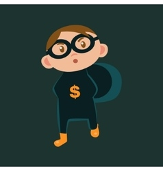 Boy in bank robber haloween disguise vector