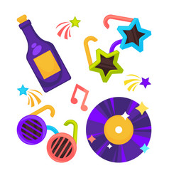 bright disco set of funny glasses vynil record vector image