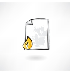 burning document grunge icon vector image vector image