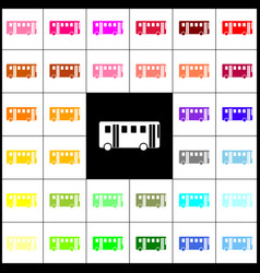 Bus simple sign felt-pen 33 colorful vector