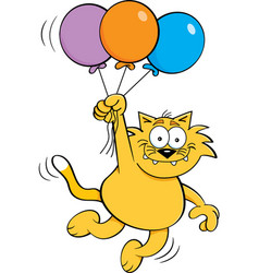 Cartoon cat holding balloons vector