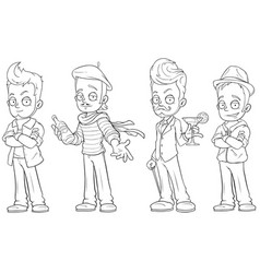 Cartoon handsome guys with alcohol character set vector