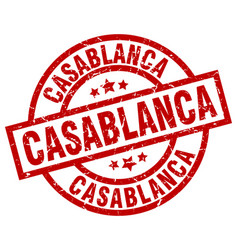 Casablanca red round grunge stamp vector
