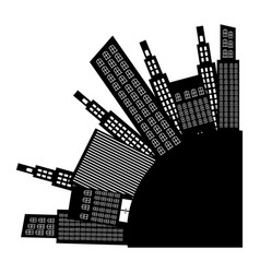 City round with builds icon vector