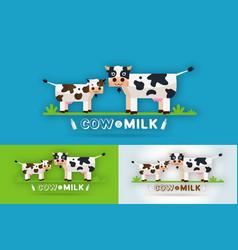 Cow milk farm logo design template vector